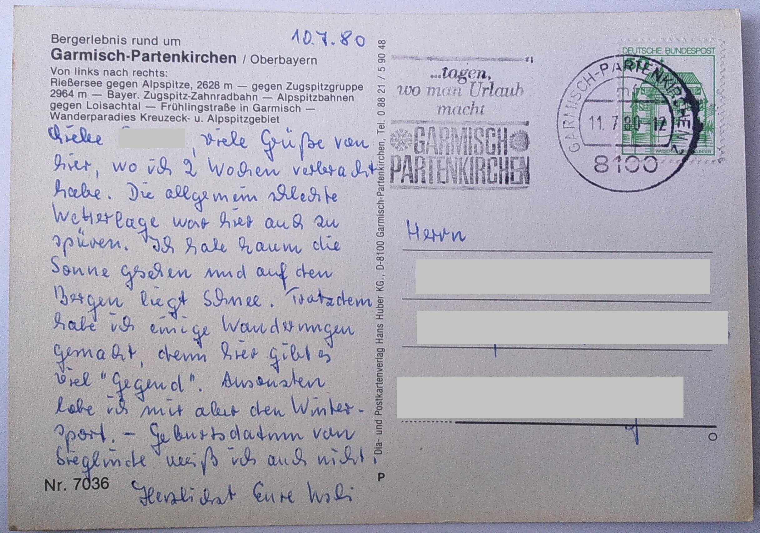 11.07.1980 Bergerlebnis rund um Garmisch-Partenkirchen (Oberbayern) back