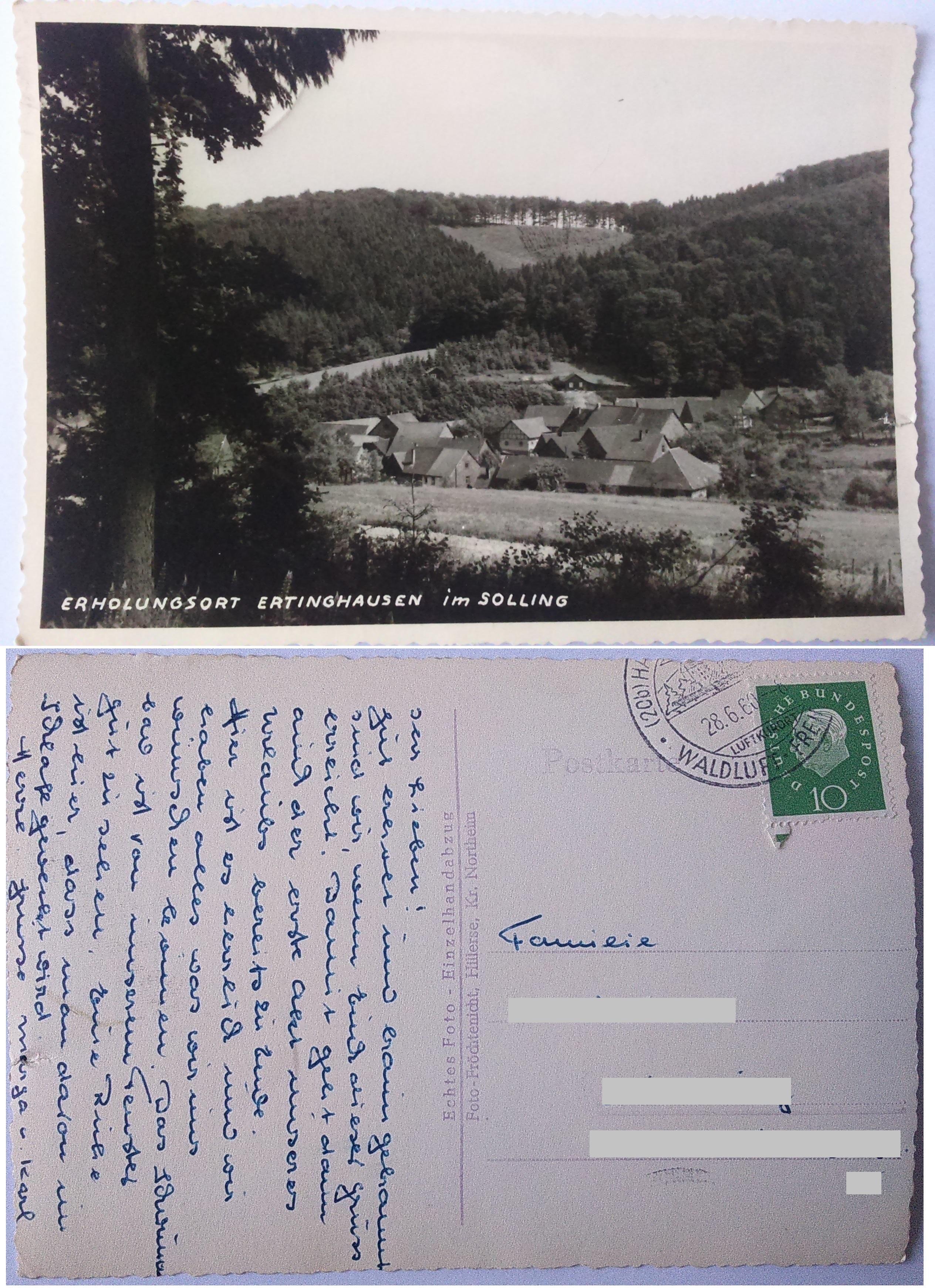 Erholungsort Ertinghausen im Solling (28.06.1960) both