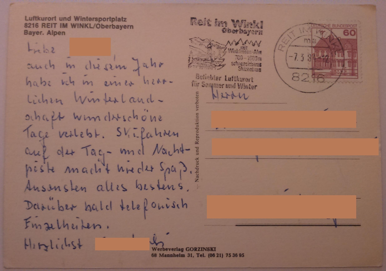 Luftkurort und Wintersportplatz Reit Im Winkl Oberbayern (07.03.1984) back