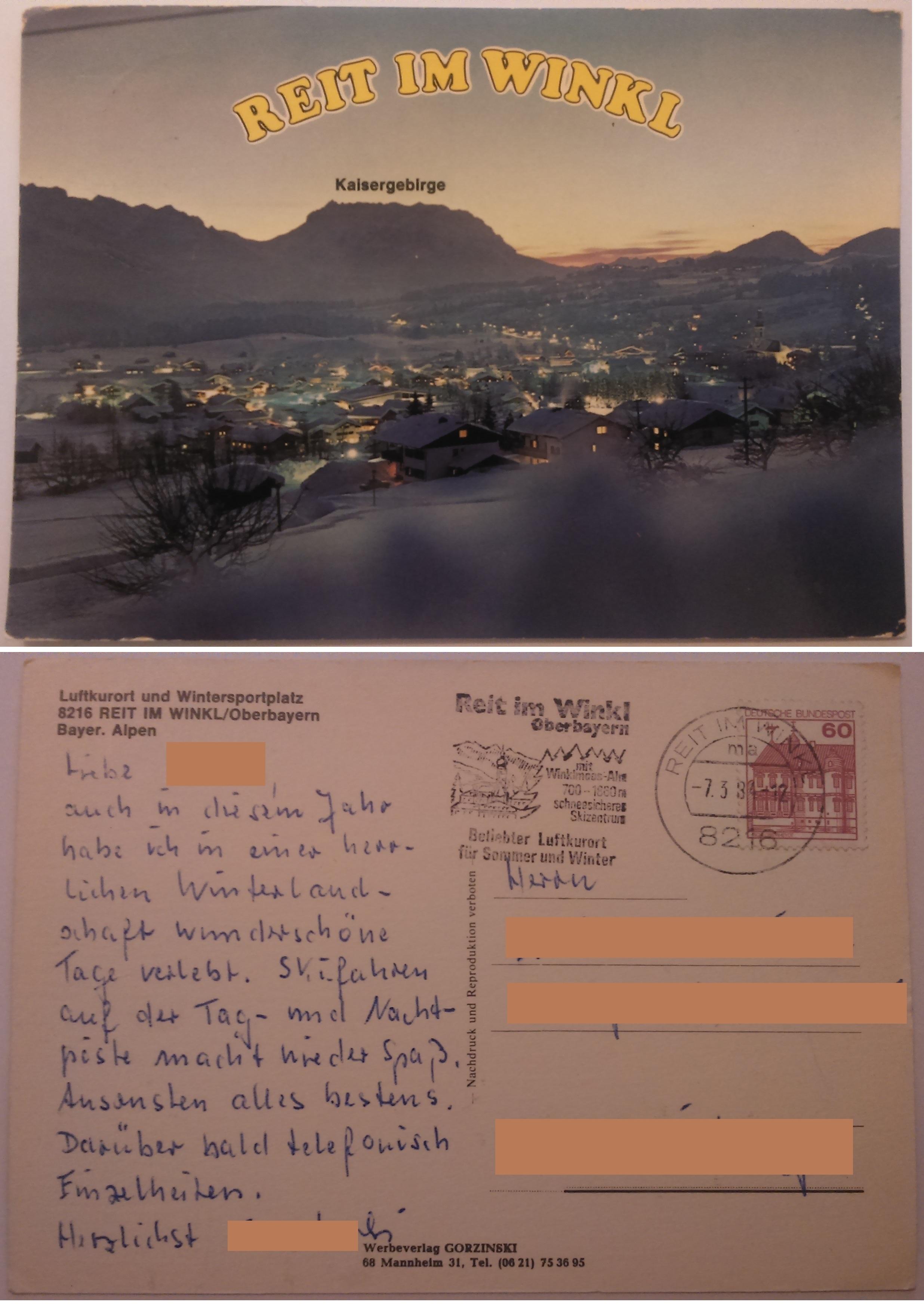 Luftkurort und Wintersportplatz Reit Im Winkl Oberbayern (07.03.1984) both