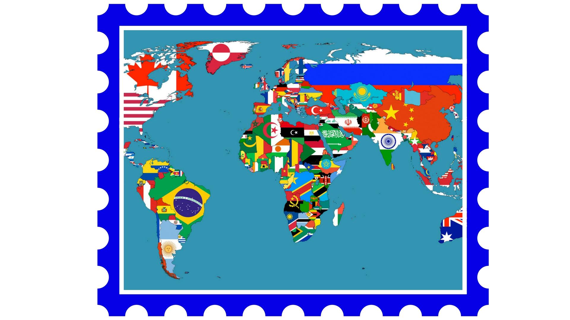 Mapa świata - znaczek pocztowy - naumowicz-stamps