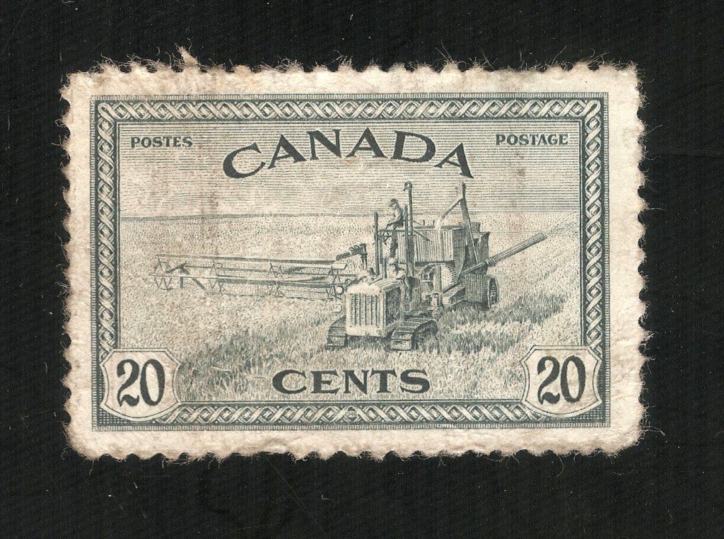Kanada (1946), Kombajn w czasie zbiorów, Pokojowa rekonwersja, (20 centów) (4408x3280)